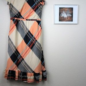 Downeast Plaid Midi Dress with Tie and pockets